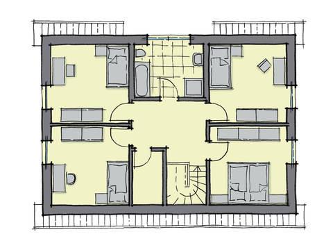 Grundriss Dachgeschoss Einfamilienhaus Lindenallee GUSSEK HAUS