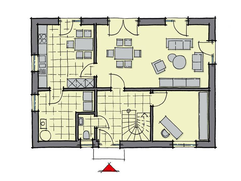 Grundriss Erdgeschoss Einfamilienhaus Lindenallee GUSSEK HAUS