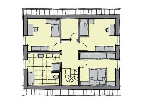 Grundriss Dachgeschoss Fertighaus Magnolienallee GUSSEK HAUS