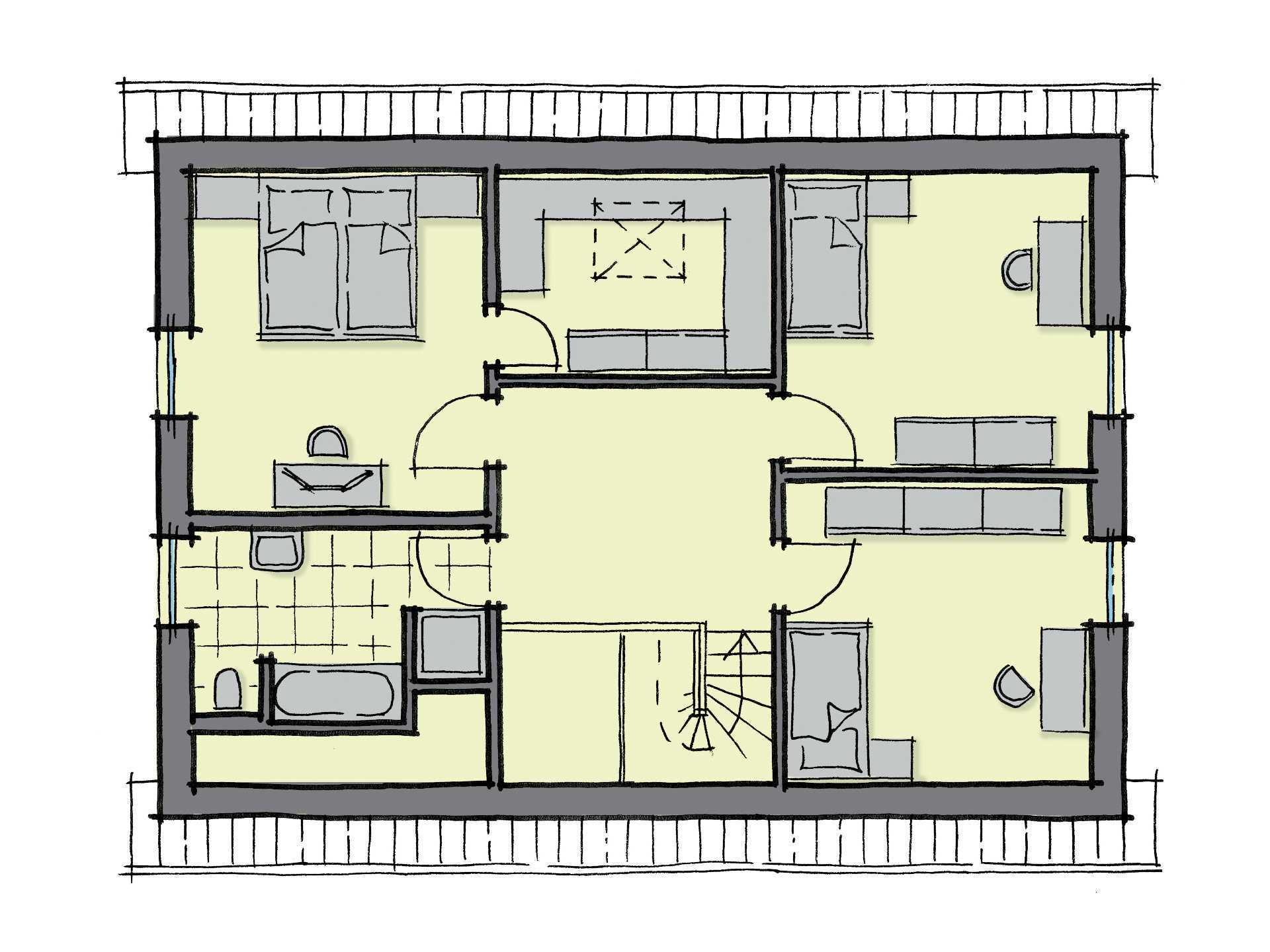 Grundriss Dachgeschoss Einfamilienhaus Lindenallee Variante 1 GUSSEK HAUS