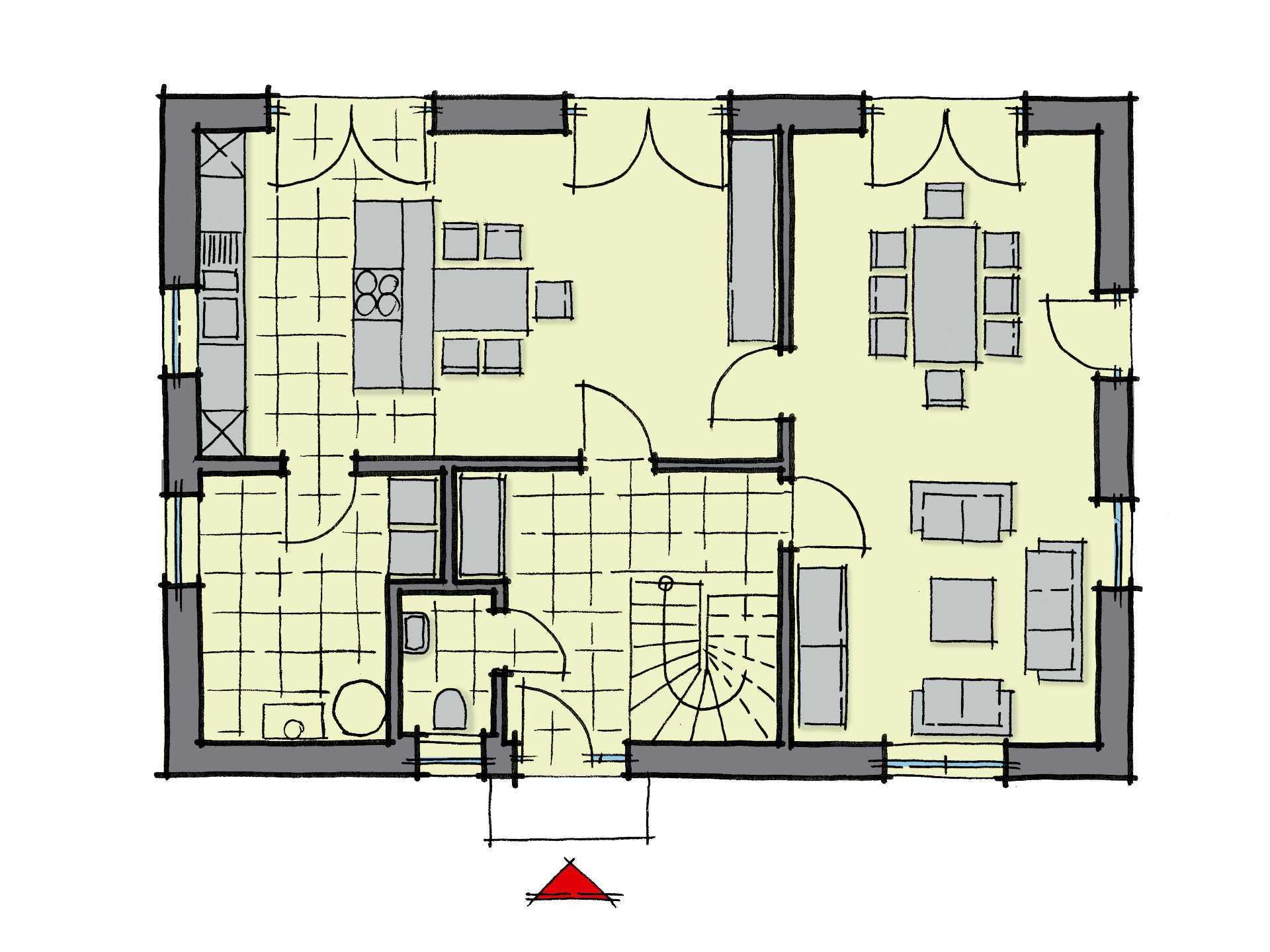 Grundriss Erdgeschoss Einfamilienhaus Lindenallee Variante 1 GUSSEK HAUS