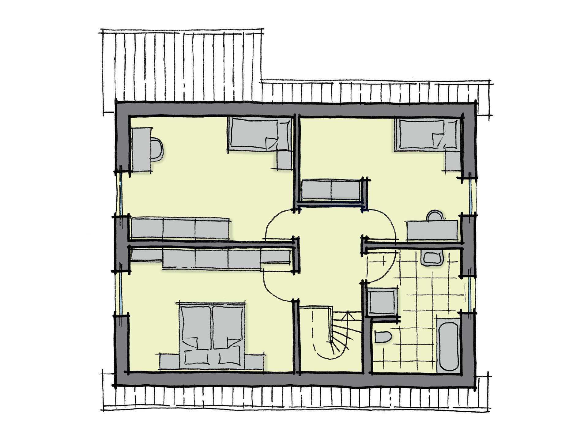 Grundriss Dachgeschoss Fertighaus Magnolienallee Variante 1 GUSSEK HAUS