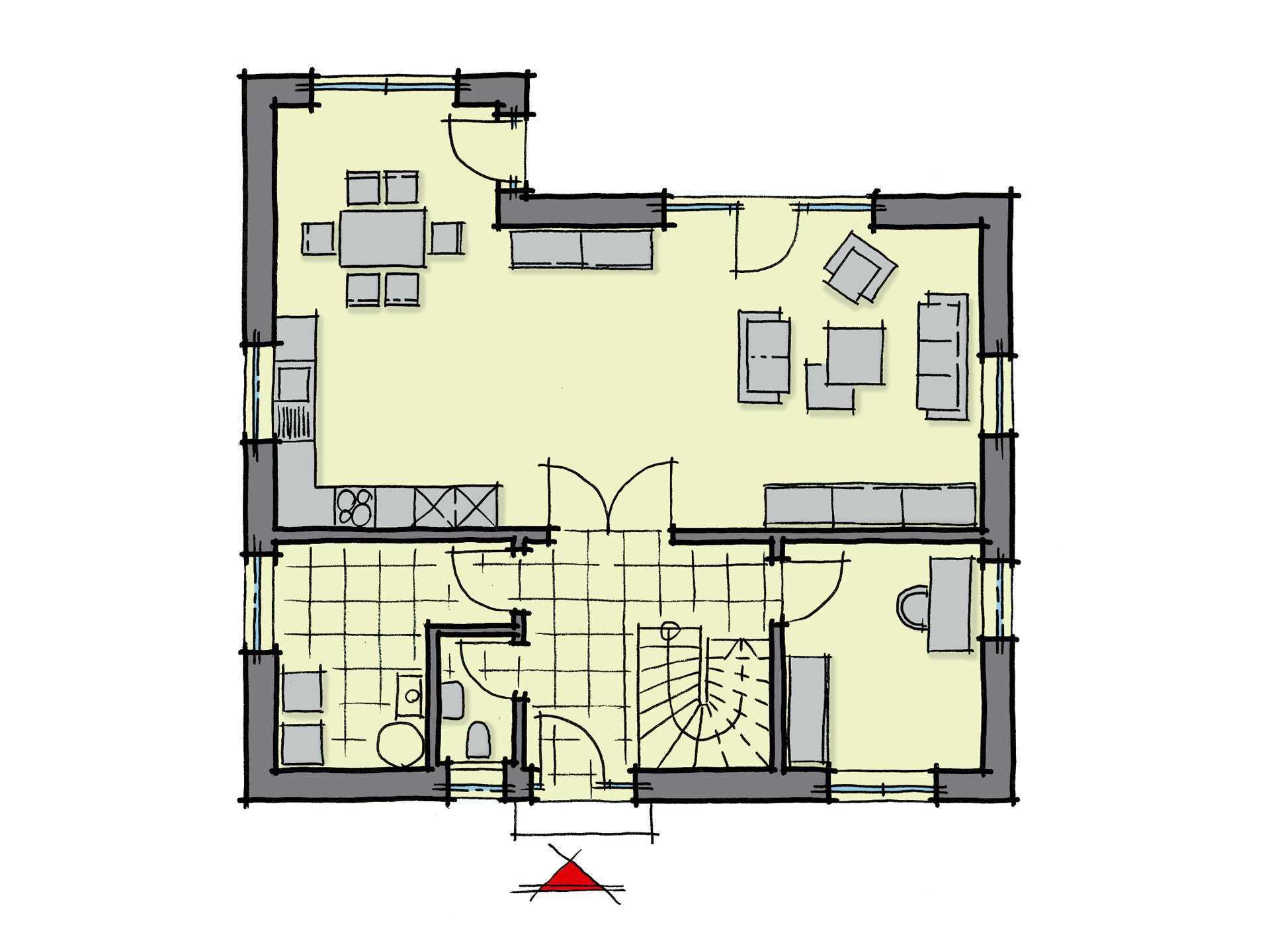 Grundriss Erdgeschoss Fertighaus Magnolienallee Variante 1 GUSSEK HAUS