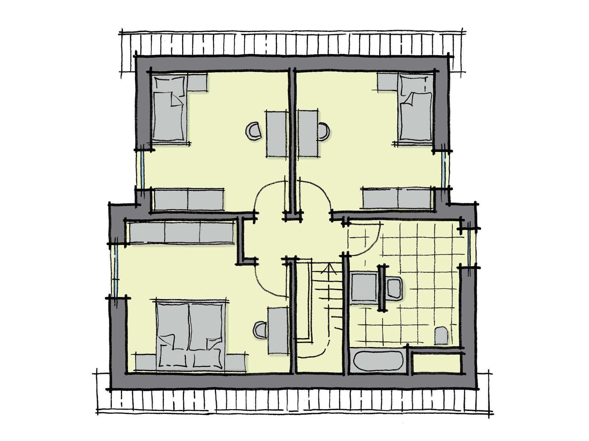 Grundriss Dachgeschoss Fertighaus Nussbaumallee GUSSEK HAUS