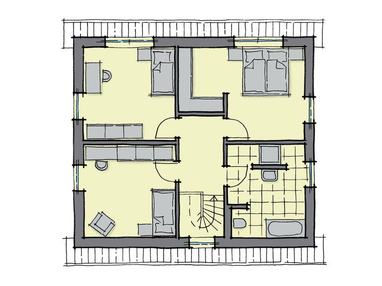 Grundriss Dachgeschoss Fertighaus Platanenallee GUSSEK HAUS