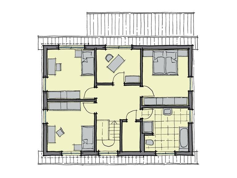 Grundriss Dachgeschoss Einfamilienhaus Pappelallee GUSSEK HAUS