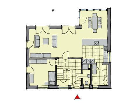 Grundriss Erdgeschoss Einfamilienhaus Pappelallee GUSSEK HAUS