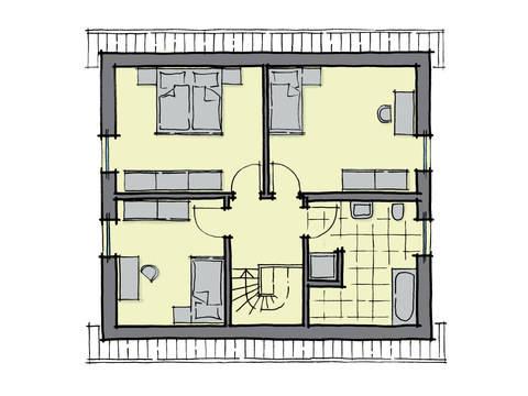 Grundriss EDachgeschoss Einfamilienhaus Ulmenallee GUSSEK HAUS