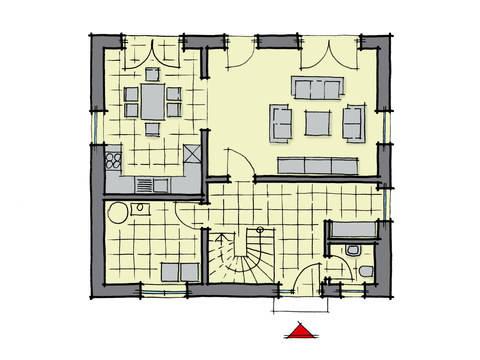 Grundriss Erdgeschoss Einfamilienhaus Ulmenallee GUSSEK HAUS