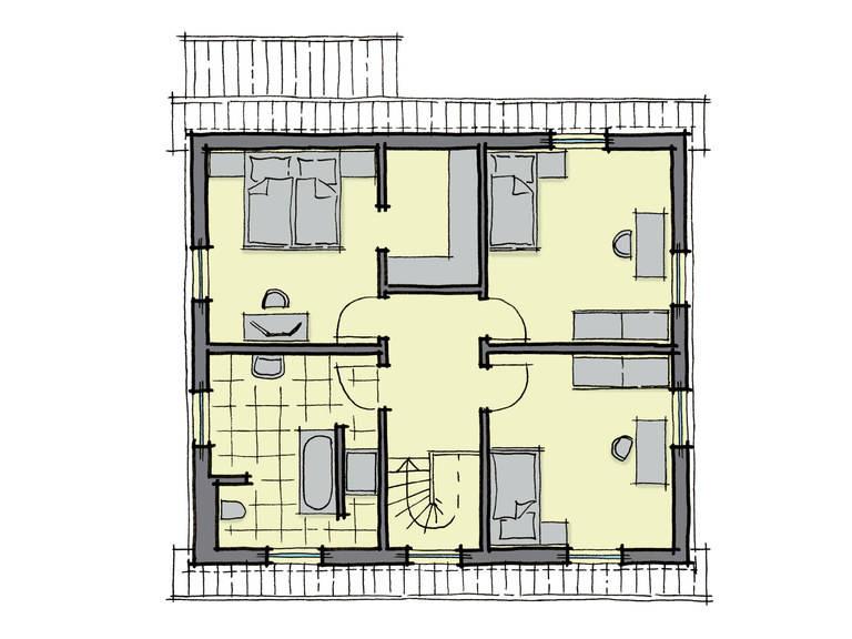 Grundriss Dachgeschoss Fertighaus Platanenallee Variante 1 GUSSEK HAUS