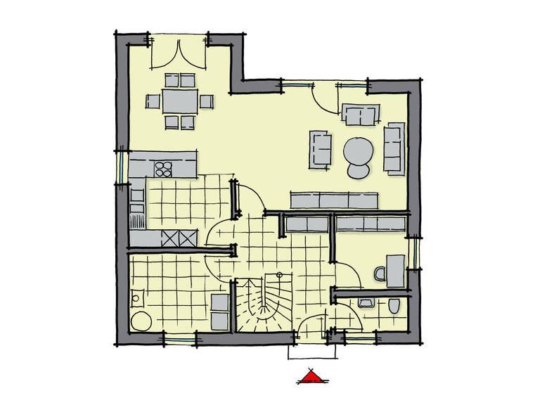 Grundriss Erdgeschoss Fertighaus Platanenallee Variante 1 GUSSEK HAUS