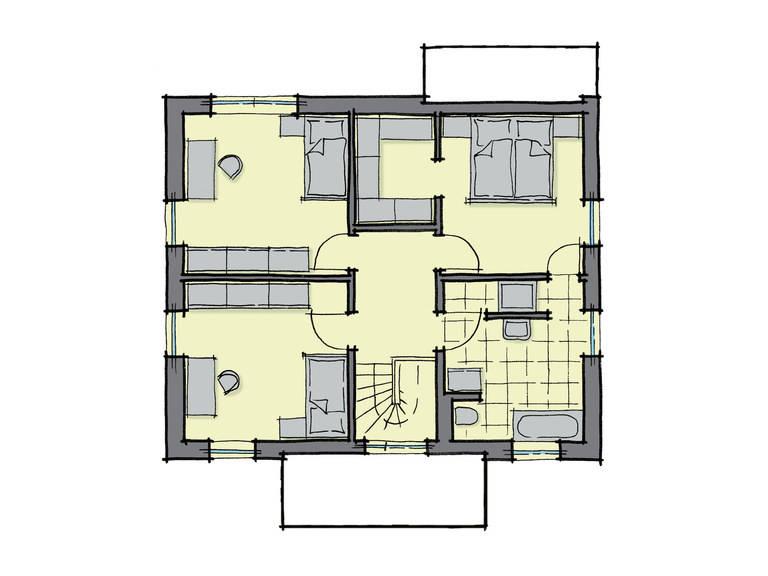 Grundriss Dachgeschoss Einfamilienhaus Pappelallee Variante 1 GUSSEK HAUS