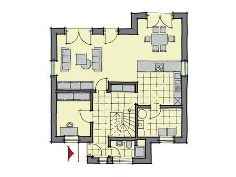 Grundriss Erdgeschoss Einfamilienhaus Pappelallee Variante 1 GUSSEK HAUS