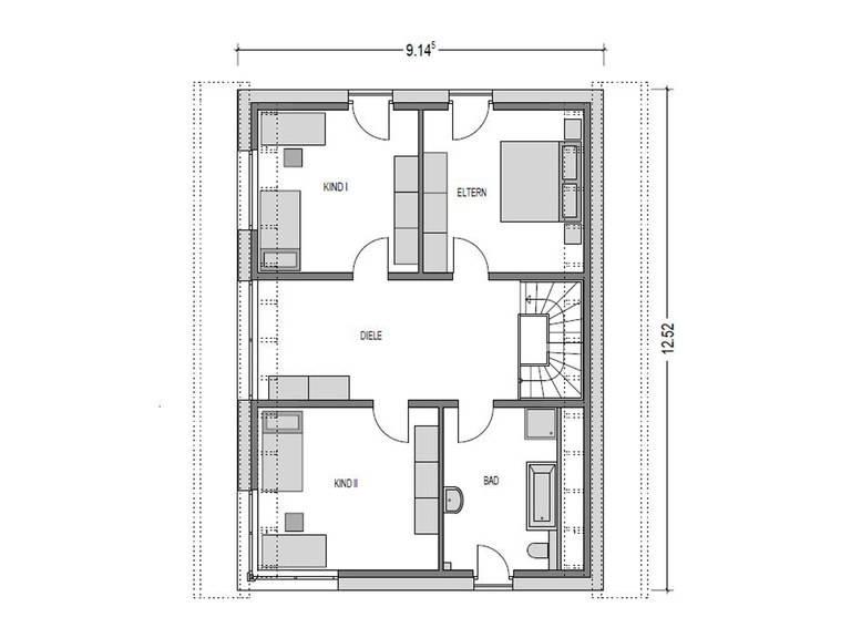 Grundriss Dachgeschoss Einfamilienhaus Variant 1008 ECO Konzepthaus