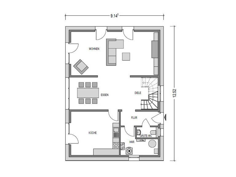 Grundriss Erdgeschoss Einfamilienhaus Variant 1008 ECO Konzepthaus
