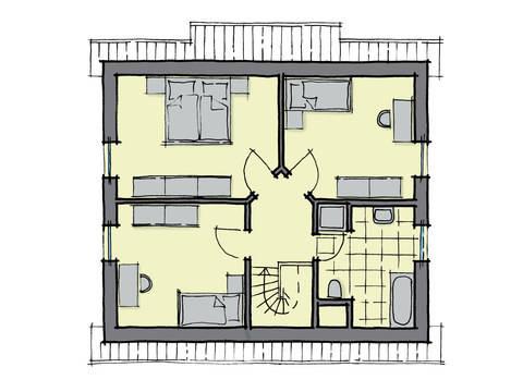 Grundriss Dachgeschoss Einfamilienhaus Ulmenallee Variante 1 GUSSEK HAUS