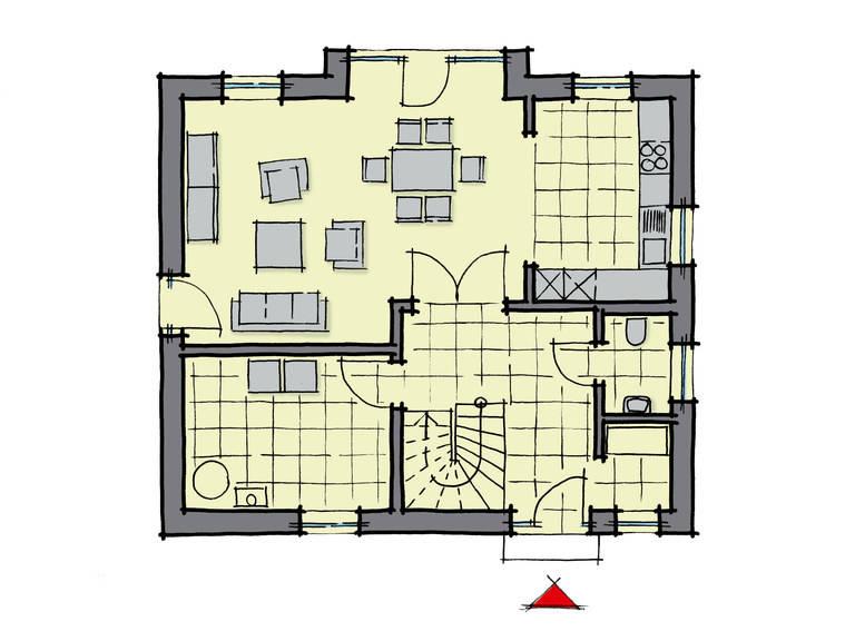 Grundriss Erdgeschoss Einfamilienhaus Ulmenallee Variante 1 GUSSEK HAUS