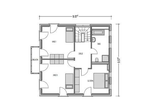 Grundriss Dachgeschoss Stadtvilla Eleganz.1150 SV Konzepthaus