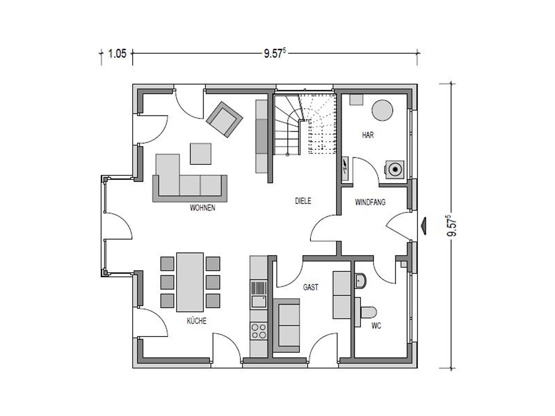 Grundriss Erdgeschoss Stadtvilla Eleganz.1150 SV Konzepthaus