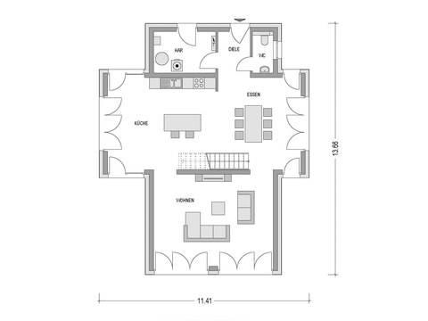 Grundriss Erdgeschoss Flachdachhaus Urban 1007 CAV Konzepthaus