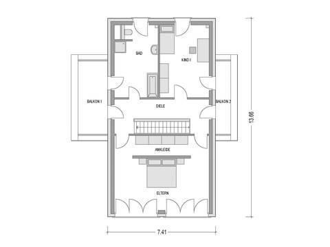 Grundriss Dachgeschoss Flachdachhaus Urban 1007 CAV Konzepthaus