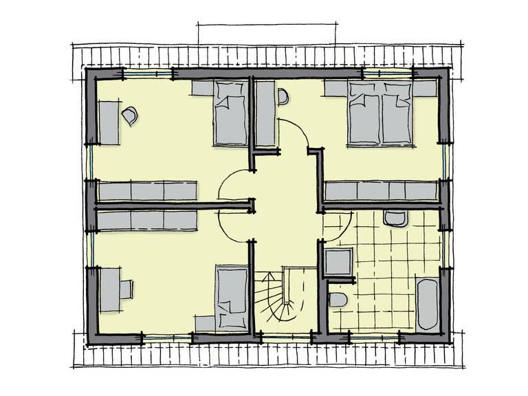 Grundriss Dachgeschoss Einfamilienhaus Pappelallee Variante 2 GUSSEK HAUS