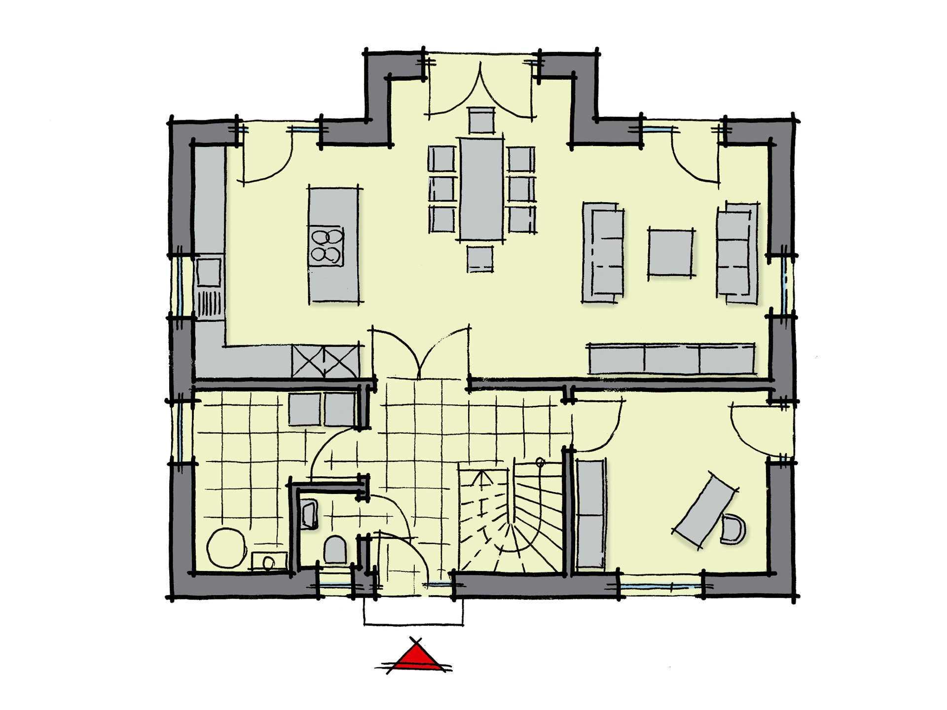 Grundriss Erdgeschoss Einfamilienhaus Pappelallee Variante 2 GUSSEK HAUS