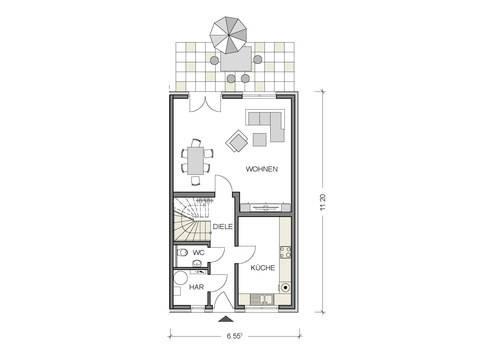 Grundriss Erdgeschoss Doppelhaus Variant 1136 BB Konzepthaus
