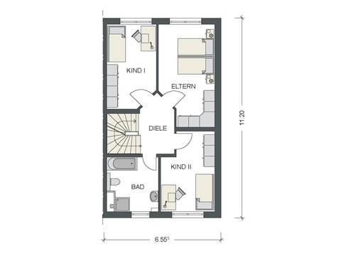 Grundriss Obergeschoss Doppelhaus Variant 1136 BB Konzepthaus