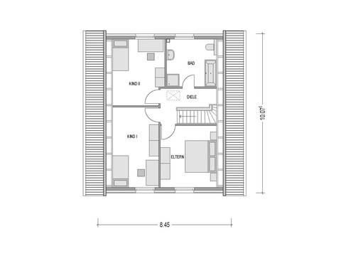 Grundriss Dachgeschoss Einfamilienhaus Klassik 1051M Konzepthaus