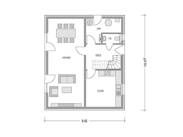 Grundriss Erdgeschoss Einfamilienhaus Klassik 1051M Konzepthaus