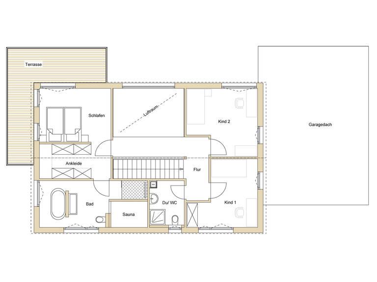 Grundriss OG Haus Design 237 von frammelsberger