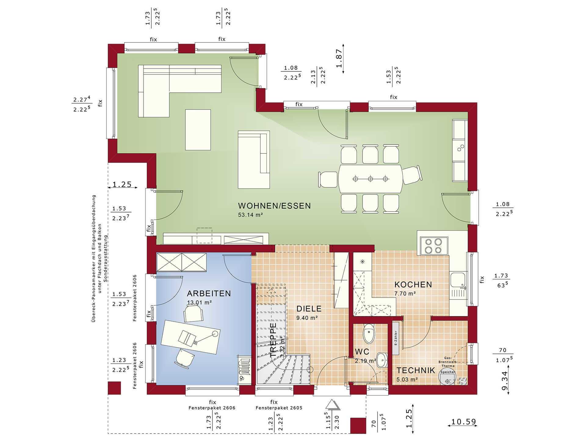 Grundriss EG Haus Sunshine 165 von Living Haus