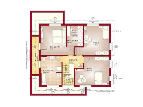 Grundriss OG Haus Sunshine 165 von Living Haus