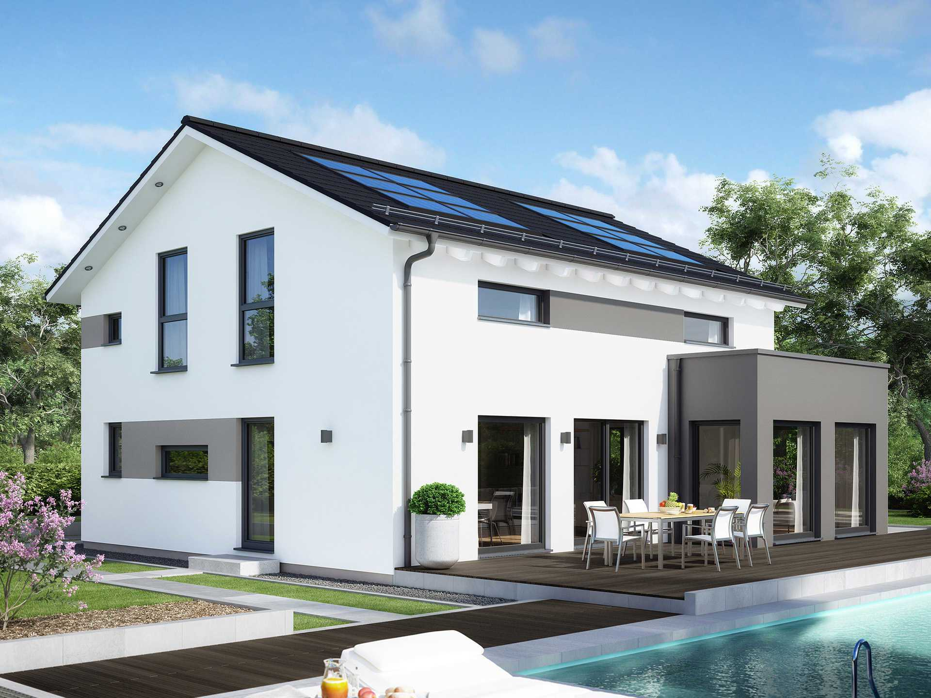 Musterhaus sunshine 165 ulm living haus for Moderne ha user mit satteldach