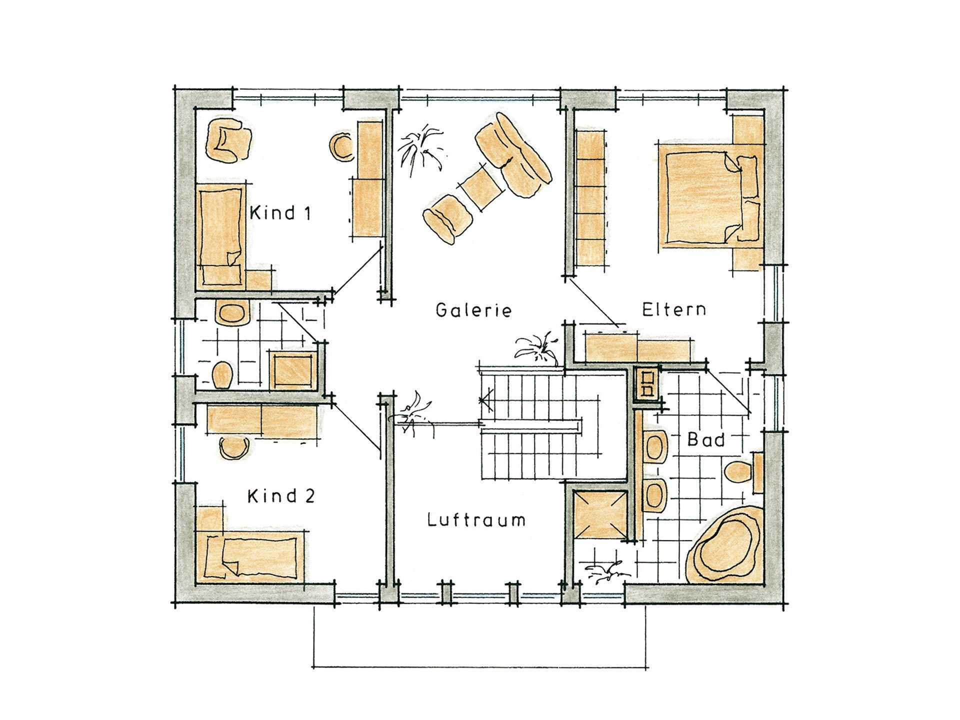 Musterhaus Kaiseraugst von Gussek Haus - Grundriss OG