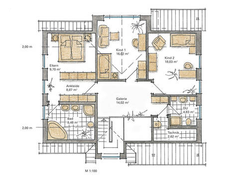 Musterhaus Carina von Gussek Haus - Grundriss DG