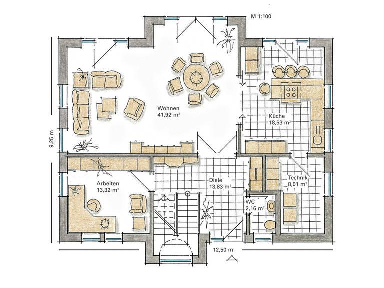 Musterhaus Carina von Gussek Haus - Grundriss EG