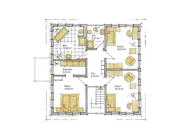 Musterhaus Aida von Gussek Haus - Grundriss DG