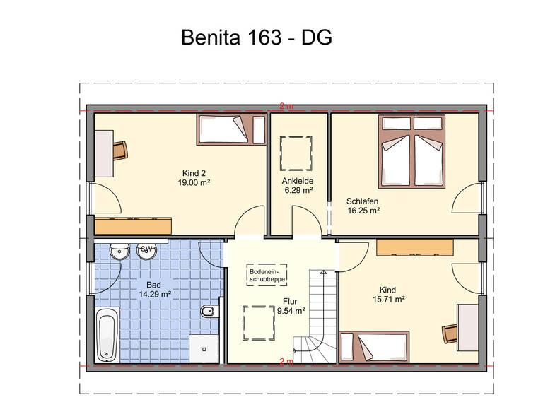 Haus Benita von W. Leberer Massivbau - Grundriss DG