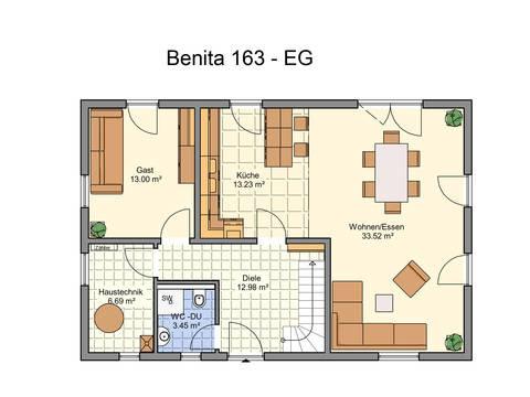 Haus Benita von W. Leberer Massivbau - Grundriss EG