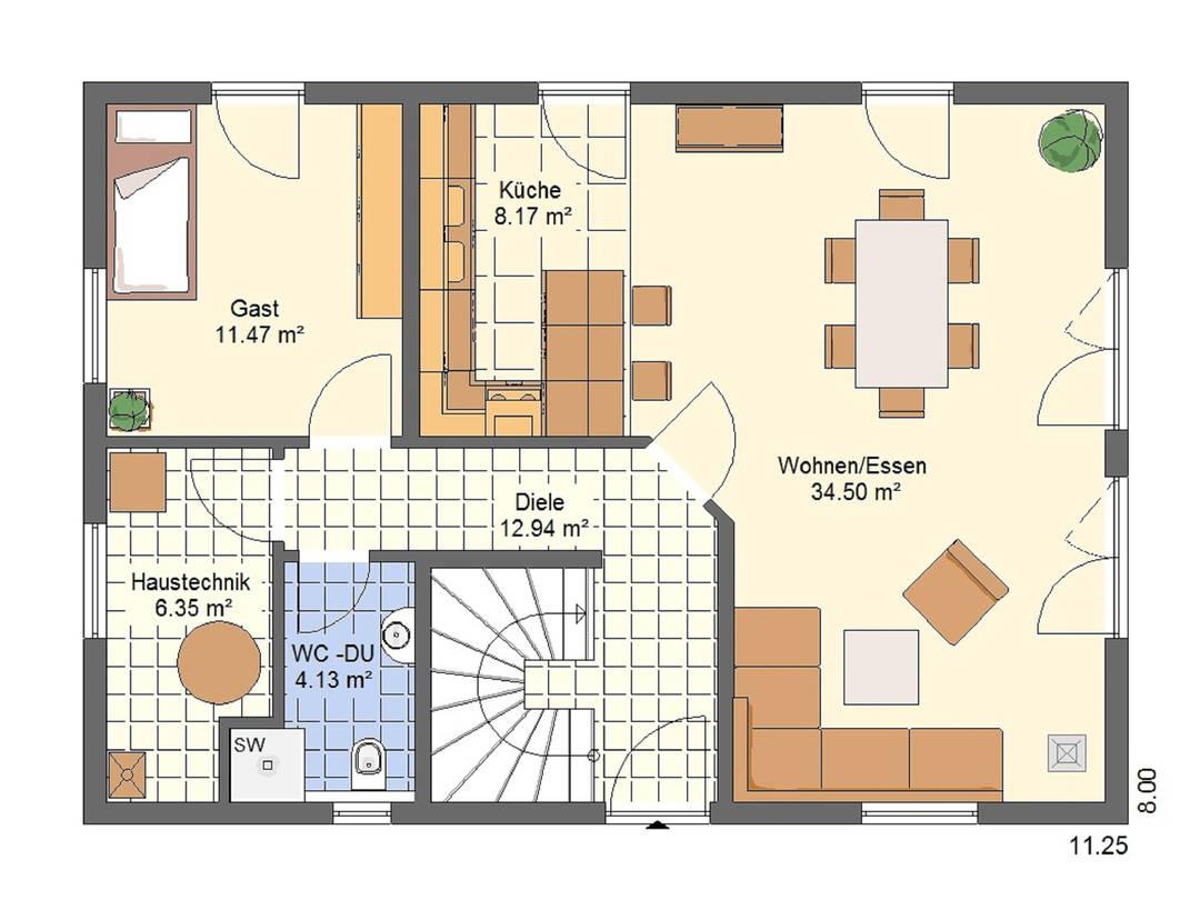 Haus Bonnie von W. Leberer Massivbau - Grundirss EG 1