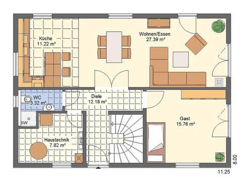 Haus Bonnie von W. Leberer Massivbau - Grundirss EG 2