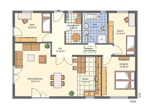 Haus Charlotte von W. Leberer Massivbau - Grundriss EG-2