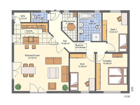 Haus Charlotte von W. Leberer Massivbau - Grundriss EG-1