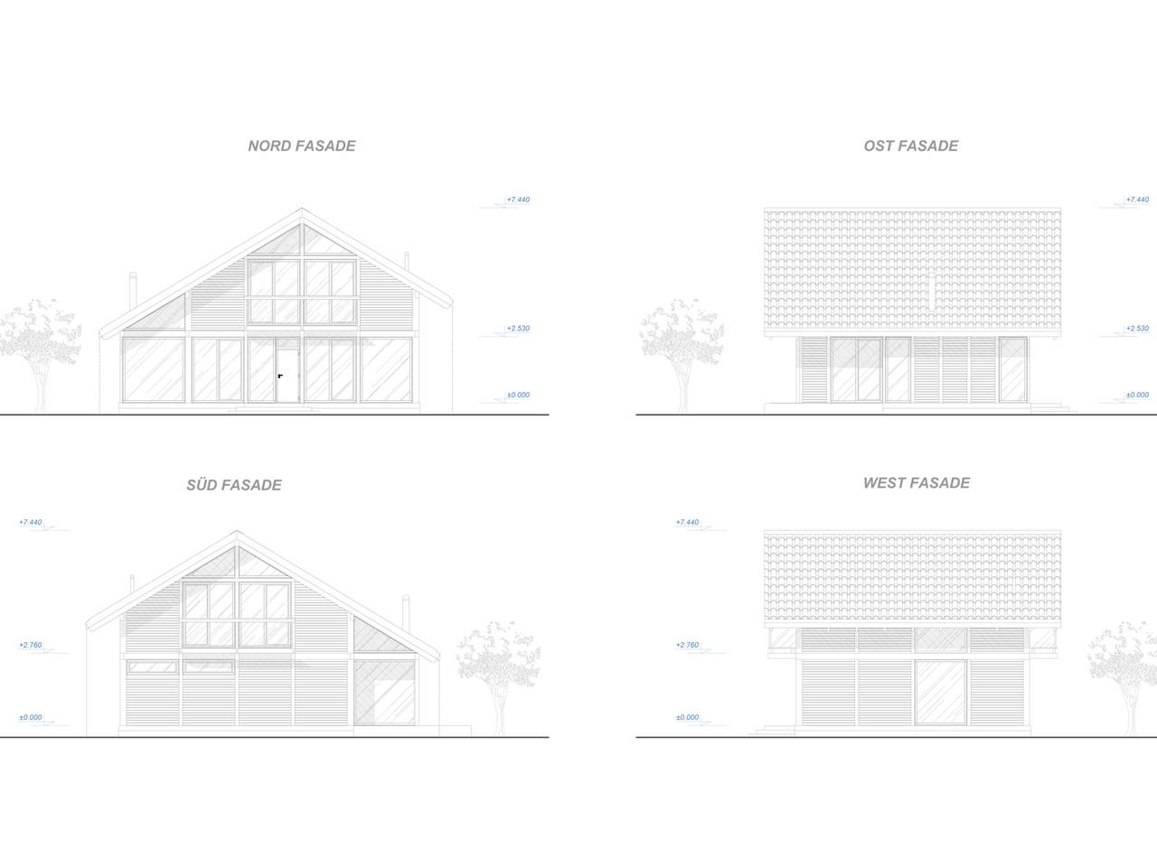 Familienhaus 220 von Designo Haus - Fassadenansichten