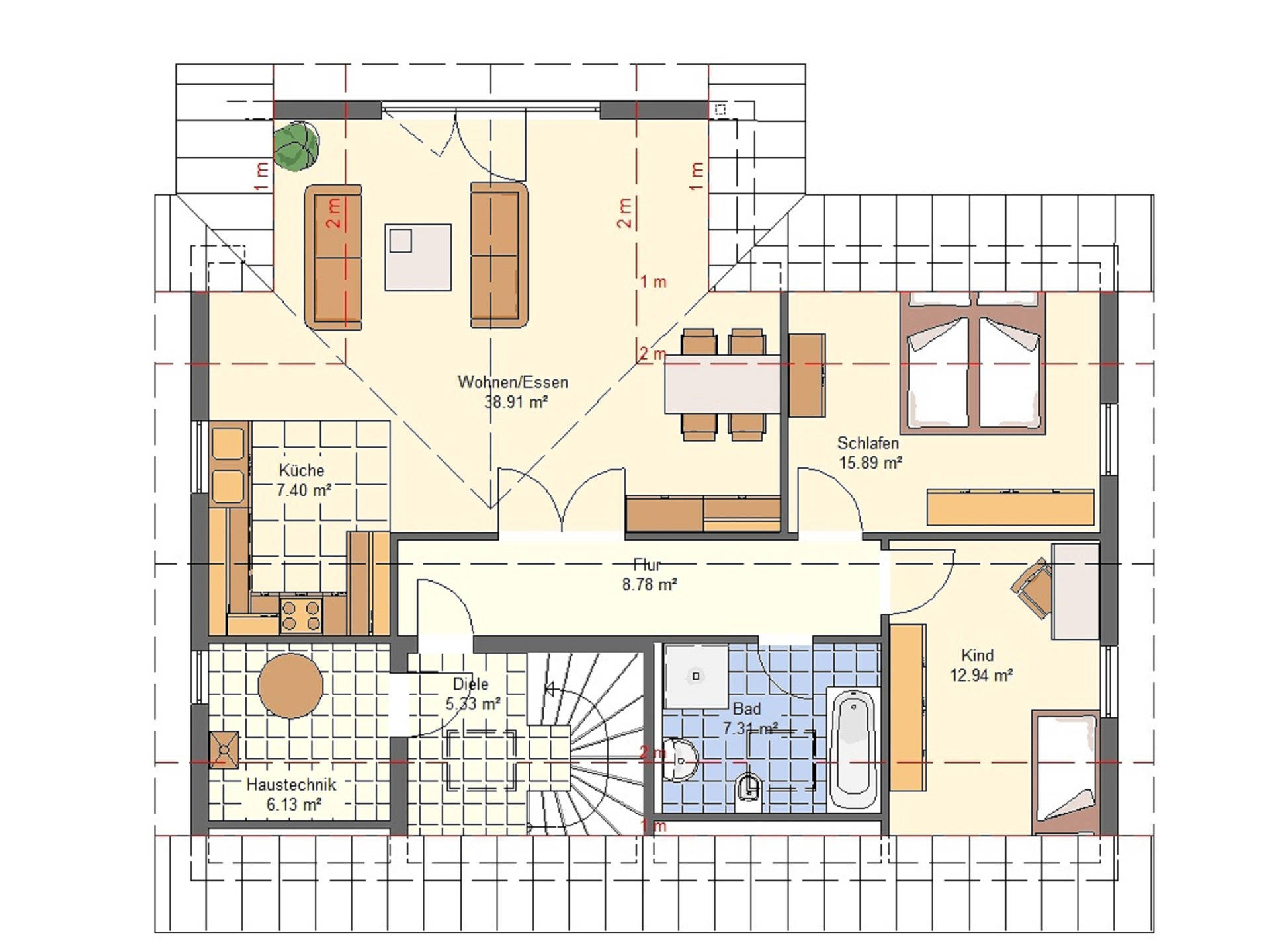 Haus Emilia von W. Leberer Massivbau Grundriss DG 1