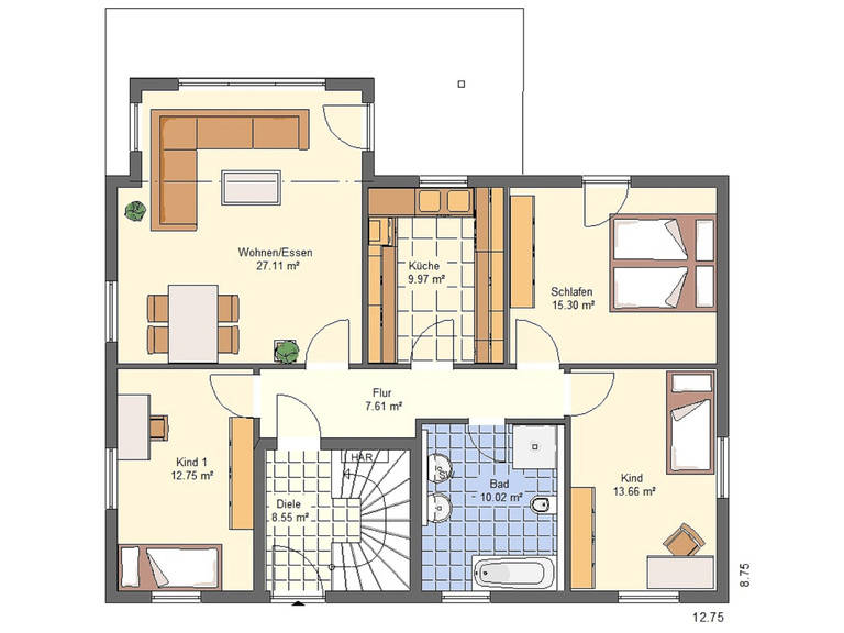 Haus Emilia von W. Leberer Massivbau Grundriss EG 1