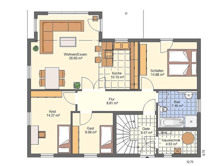 Haus Emilia von W. Leberer Massivbau Grundriss EG 2