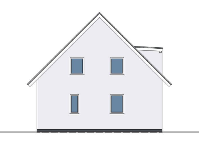 Zeichnung Seitenansicht Haus Felix von W. Leberer Massivbau